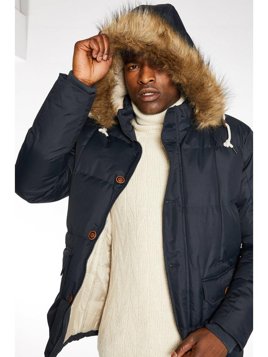 Button Through Fur Hooded Parka In Navy