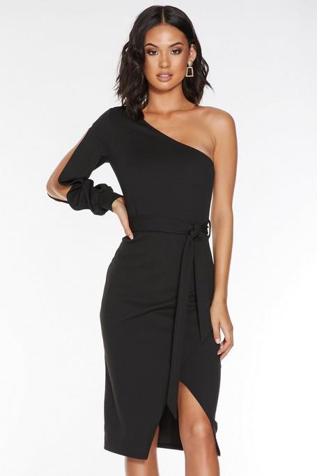 Vestido Midi Negro Asimétrico