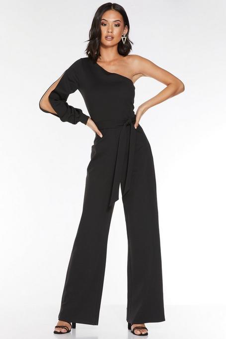 Black One Shoulder Tie Belt Palazzo Jumpsuit