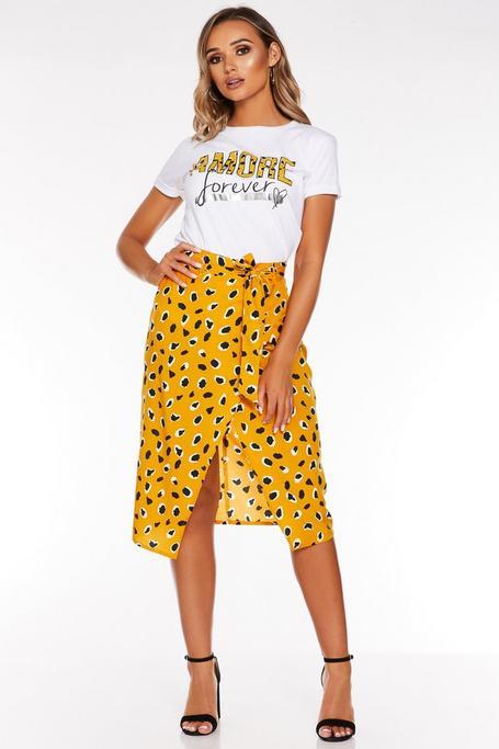 Mustard Dalmatian Wrap Skirt