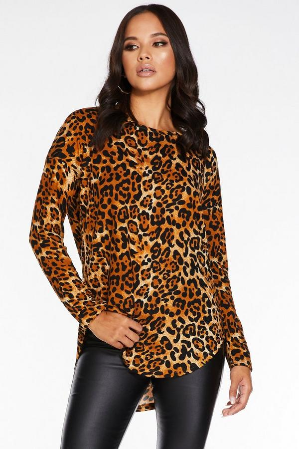 Brown Knitted Leopard Print Long Sleeve Sweater
