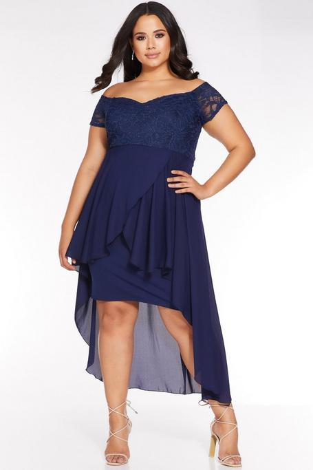 Vestido Curve Azul Marino con Encaje y Bajo Asimétrico