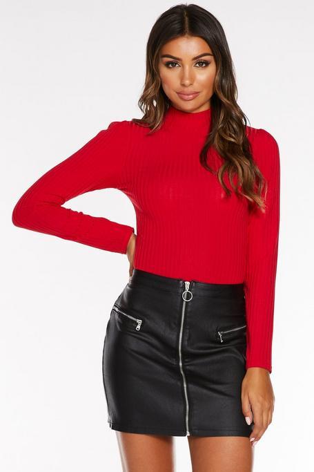 Mini Falda Negra Efecto Cuero con Cremallera