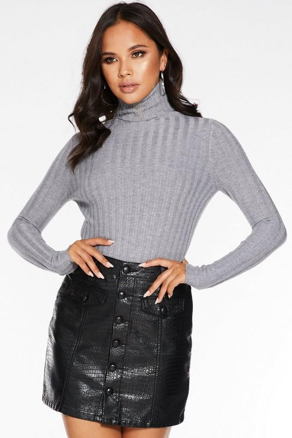 Mini Falda Negra Efecto Cocodrilo