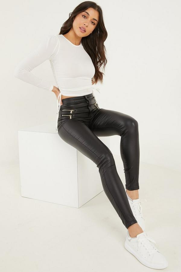 Black Faux Leather Zip Detail Skinny Pants