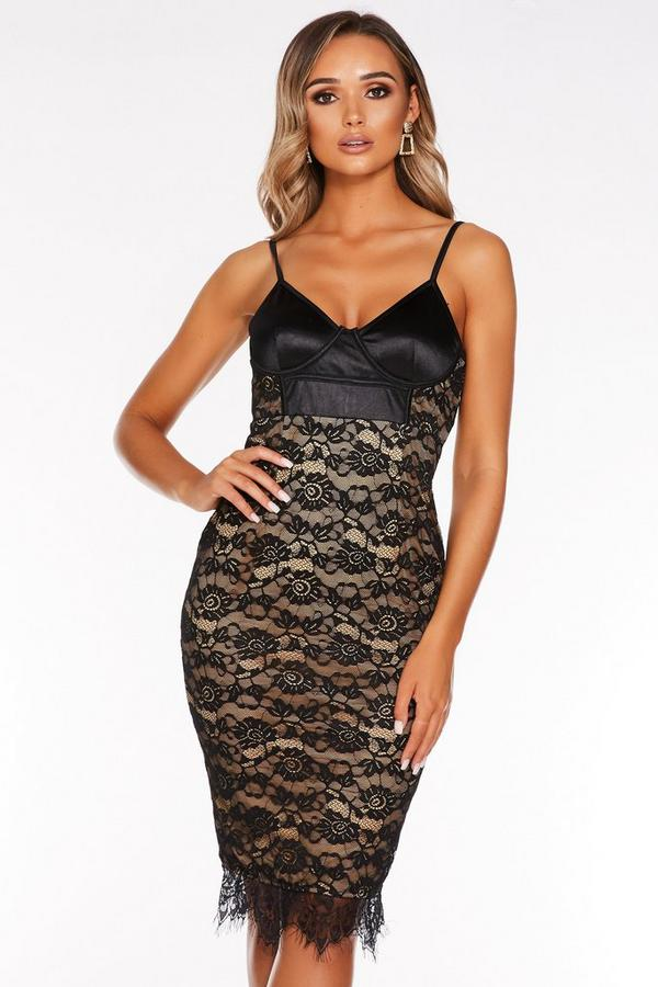 Black Satin Lace Strappy Midi Dress