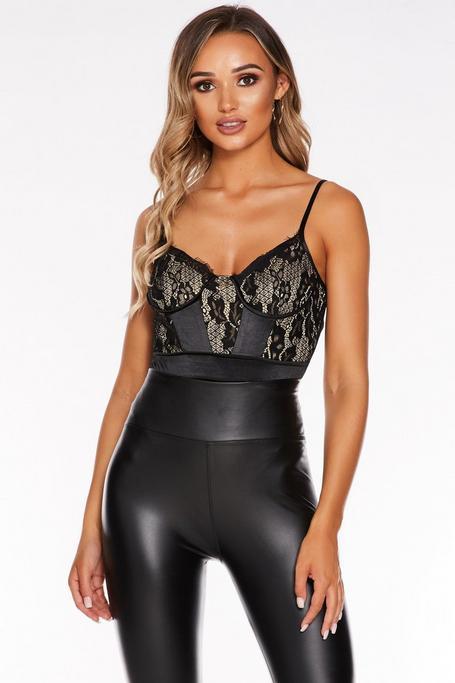 Black Lace Satin Bodysuit