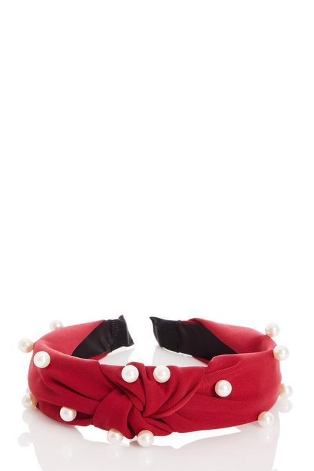 Diadema Roja con Perlas y Nudo