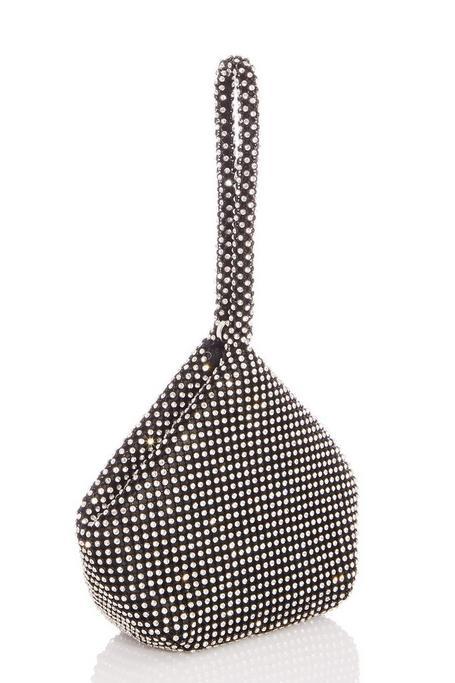 Black Diamante Pouch Bag