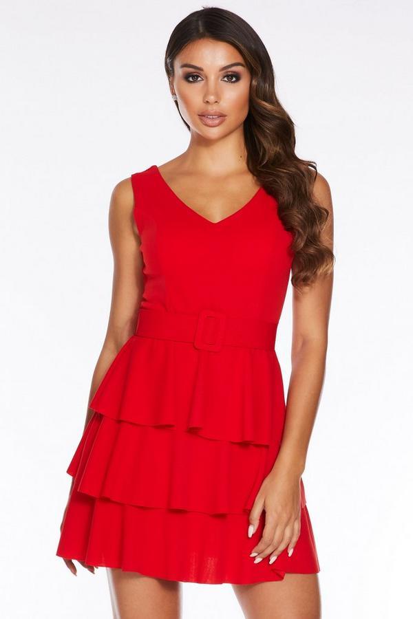 Red V Neck Frill Belted Dress