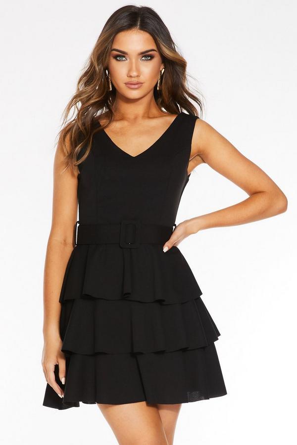 Black V Neck Frill Belted Dress