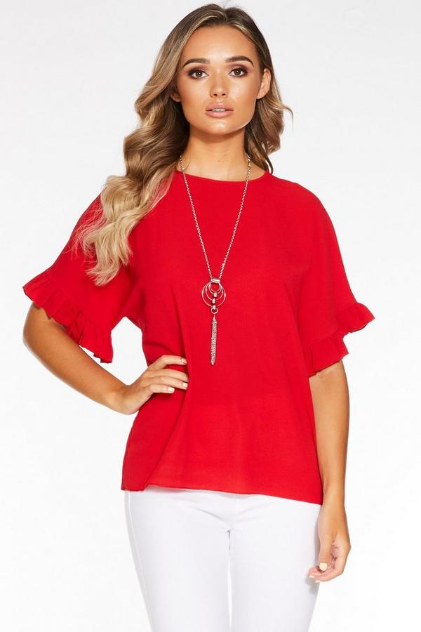Red Frill Sleeve Necklace Top