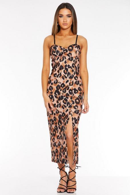 Vestido Ajustado con Estampado de Leopardo