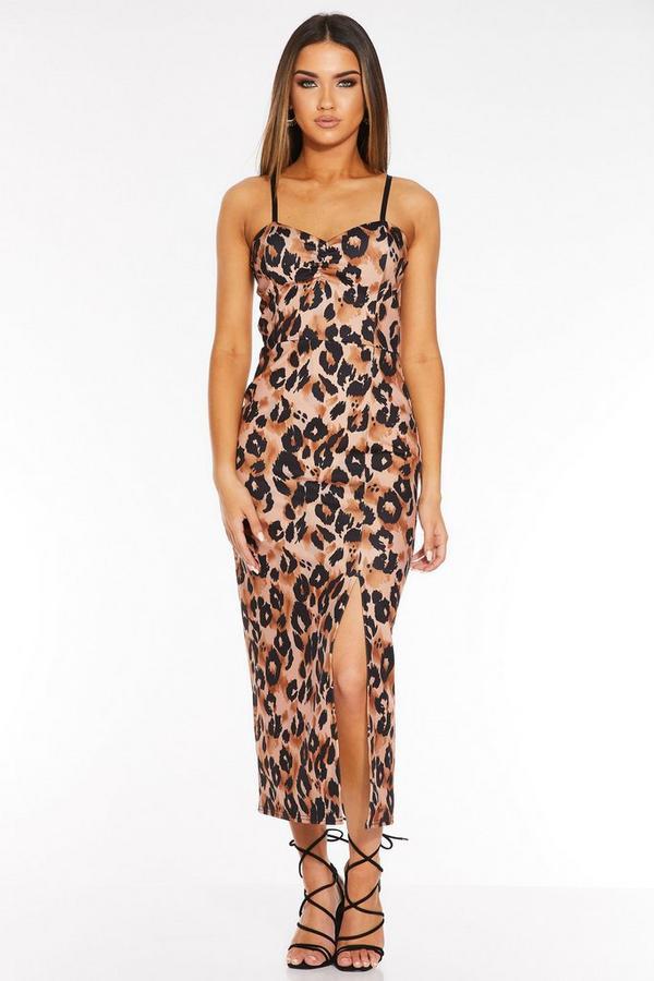 Brown Leopard Print Split Detail Midi Dress