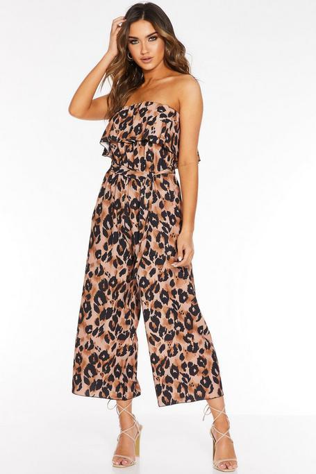 Brown Leopard Print Bardot Culotte Jumpsuit