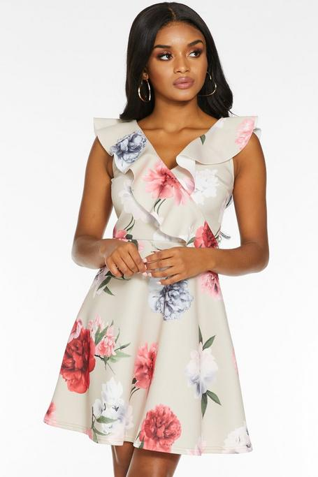 Petite Stone Pink And Grey Floral Skater Dress