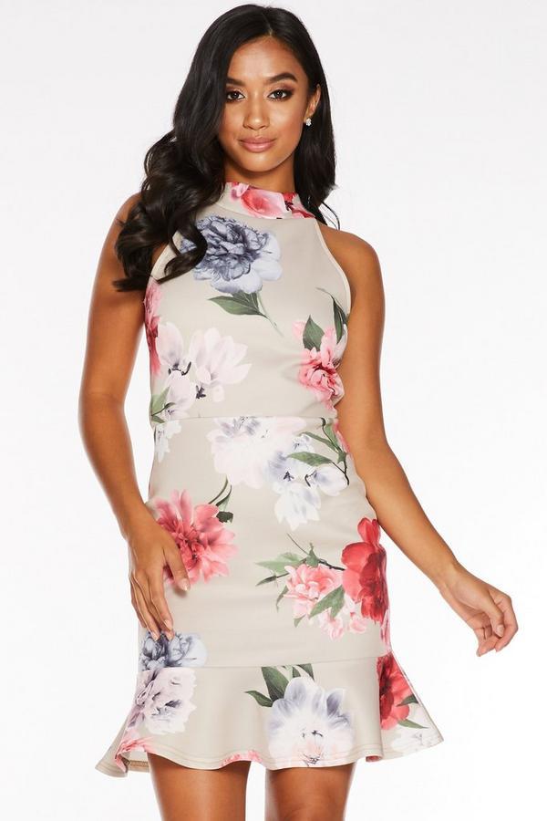 Petite Stone Floral Print Frill Hem Dress