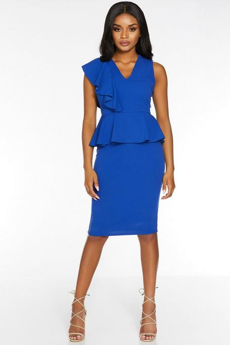 Petite Royal V Neck Peplum Midi Dress