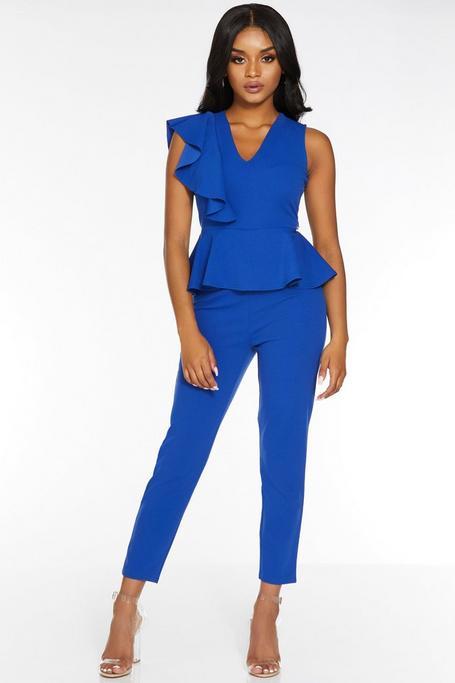 Petite Royal Blue V Neck Peplum Jumpsuit