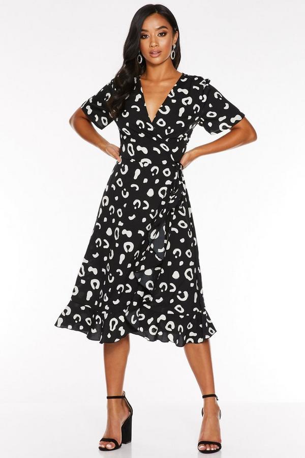 Petite Black and White Animal Print Wrap Midi Dress