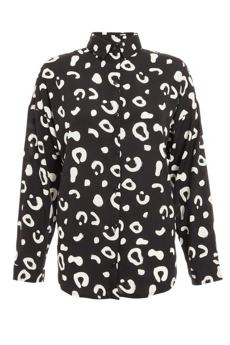 Petite Black and White Animal Print Shirt