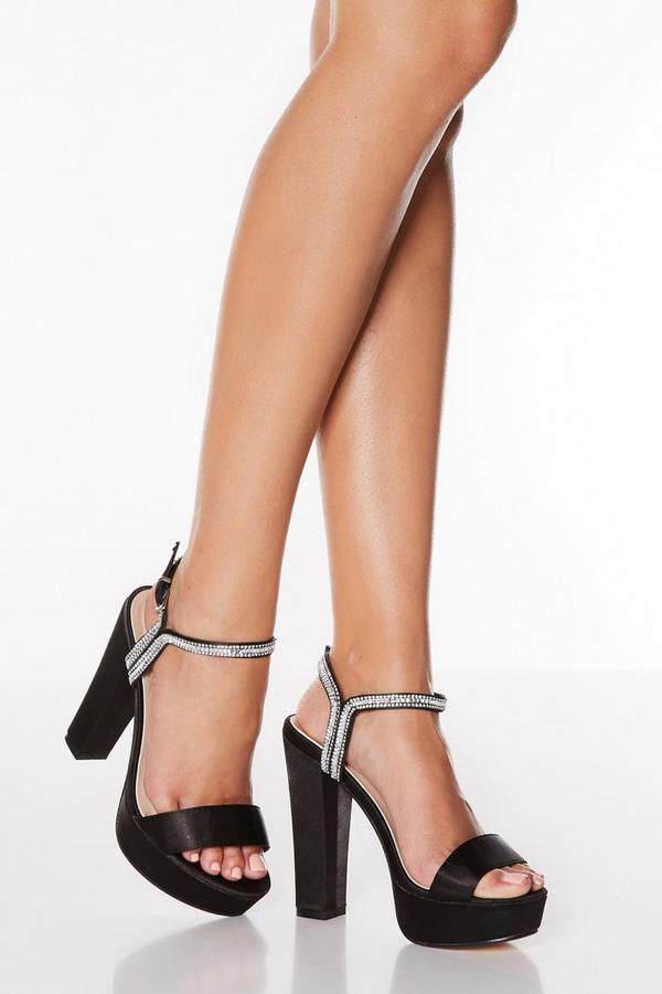 Sandalias de Tacón Negras Satinadas con Brillantes