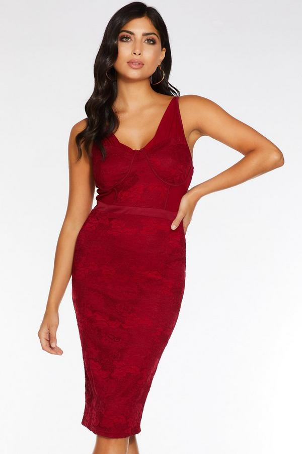 Berry Lace Ruched Midi Dress