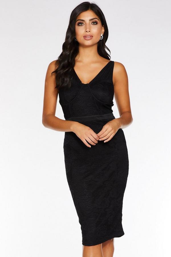 Black Lace Ruched Midi Dress