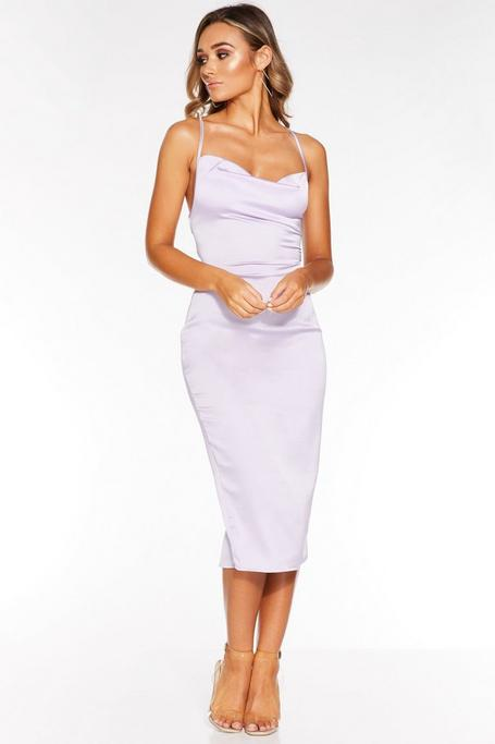 Lilac Cowl Neck Cross Back Midi Dress