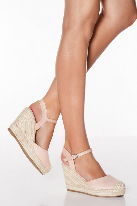 Pink Closed Toe Espadrille Wedges