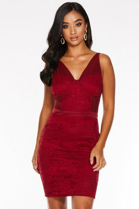 Petite Berry Lace Ruched Bodycon Dress