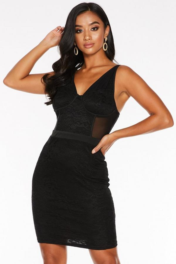 Petite Black Lace Ruched Bodycon Dress