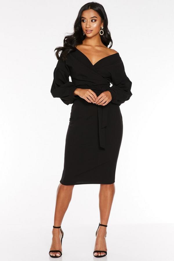 Petite Black Off The Shoulder Midi Dress