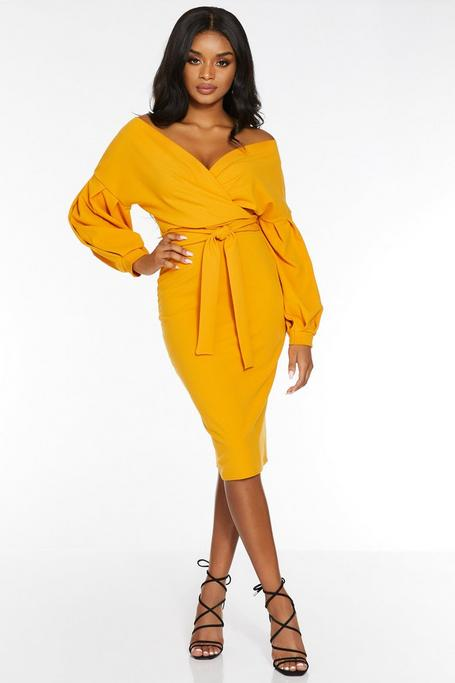 Petite Mustard Off The Shoulder Midi Dress