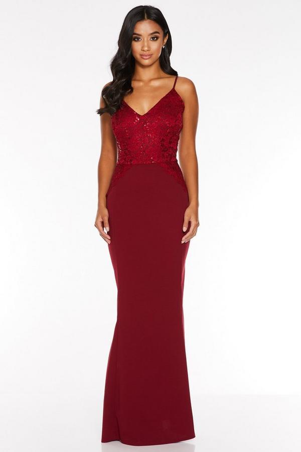 Petite Wine Sequin Lace Strappy Maxi Dress