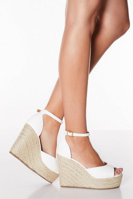 Sandalias de Cuña Blancas de Antelina de Corte Ancho
