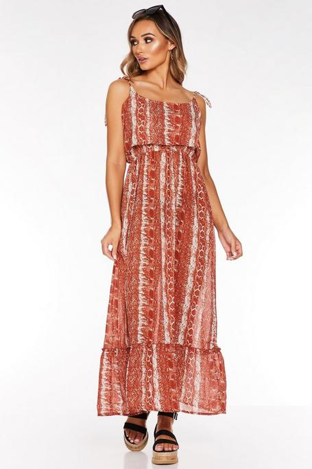 Rust Snake Print Tie Shoulder Maxi Dress