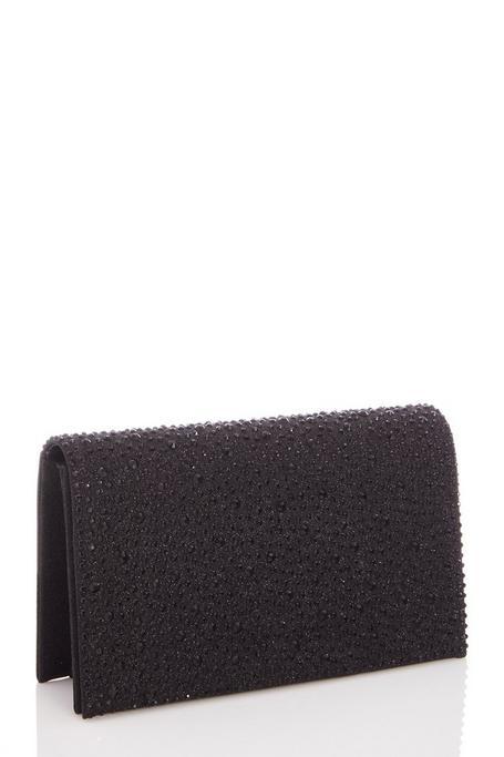 Bolso Clutch Negro con Brillantes