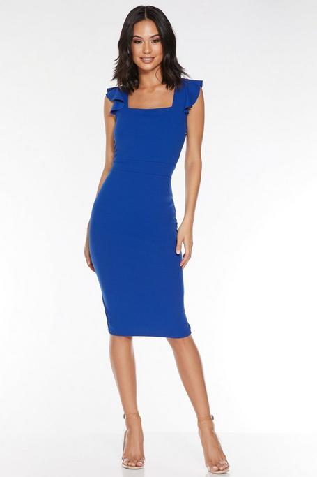 Royal Blue Square Neck Frill Midi Dress