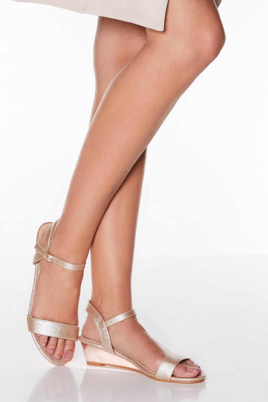 new york the latest luxury aesthetic Rose Gold Metallic Low Heel Wedges