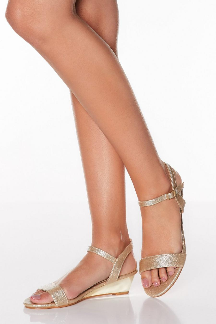 super popular best sell purchase newest Gold Metallic Low Heel Wedges