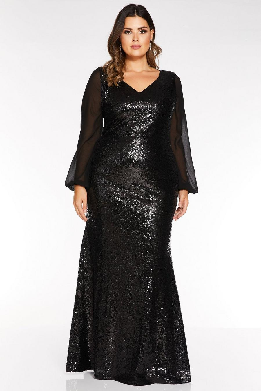 Plus Size Black Sequin V Neck Maxi Dress