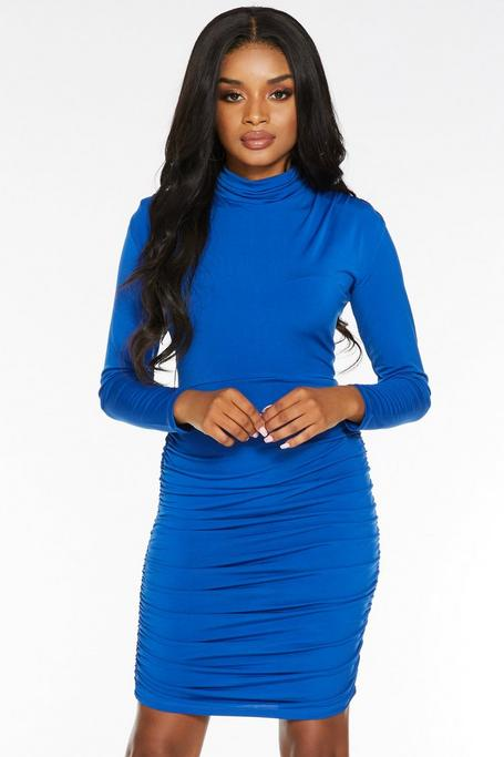Petite Royal Blue High Neck Ruched Bodycon Dress