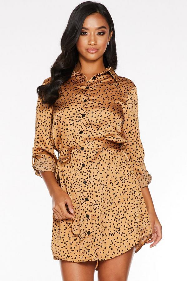 Petite Stone and Black Spot Print Shirt Dress