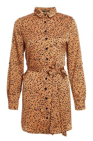 Con Petite Satinado Estampado De Vestido Leopardo fY6gb7y