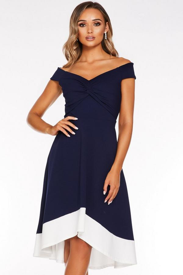 Vestido Azul Marino Bardot con Bajo Asimétrico
