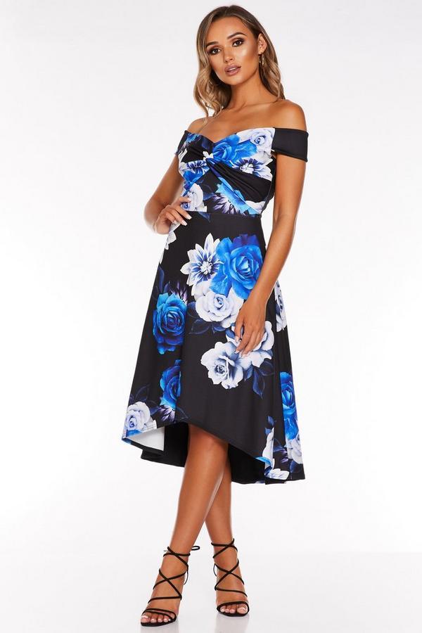 Vestido Bardot Floral Negro y Azul con Bajo Asimétrico