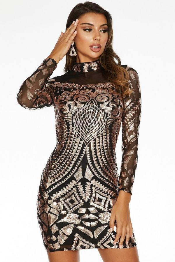 Sam Faiers Black and Rose Gold Sequin Turtle Neck Bodycon Dress