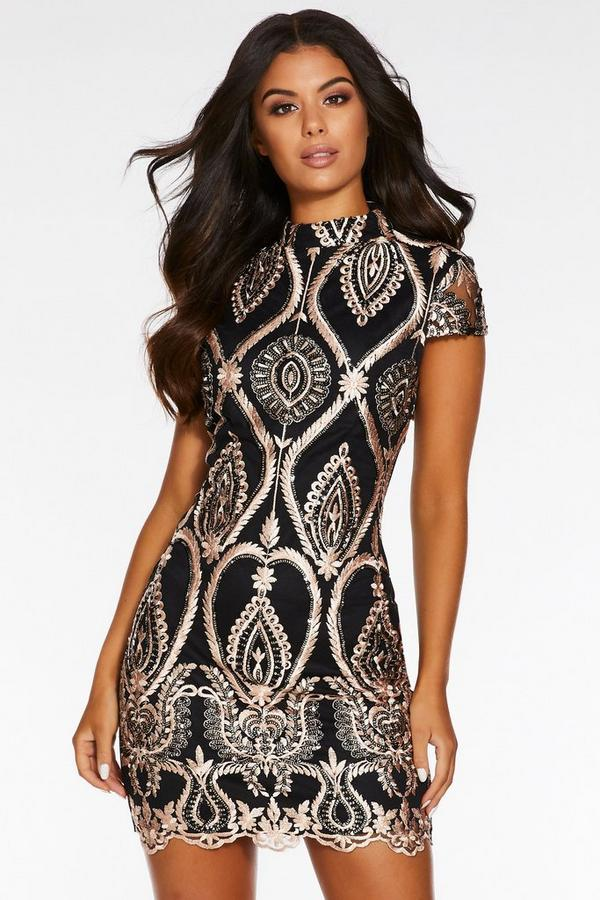 Rose Gold Sequin Embroidered High Neck Mini Dress