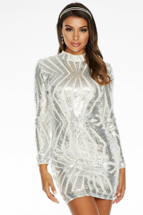 Sam Faiers Silver Sequin High Neck Bodycon Dress